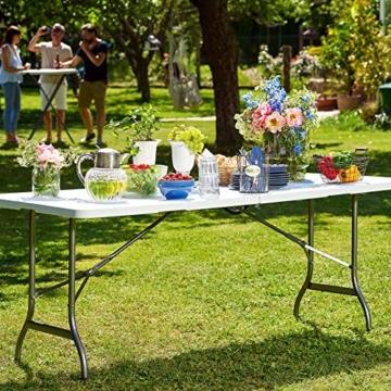 Deuba Gartentisch Klapptisch Klappbar 183x76 cm Tragegriff Kunststoff 8 Personen Buffettisch Campingtisch Garten Camping Weiß - 4