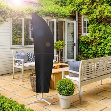 Dokon Ampelschirm Abdeckung mit Seitlicher Spanngurt, Sonnenschirm Schutzhülle für Große Schirm 2 bis 4m, Wasserdichte, Winddichte, UV-beständig, 420D Oxford Gewebe Ampelschirm hülle (280x40/81/50cm) - 2