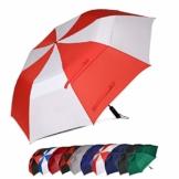 Eono by Amazon - 157cm Automatische Öffnen Golf Schirme Golf Umbrellas Foldable Golf Regenschirm, Extra große Golfschirme, Winddicht wasserdichte Stock Regenschirme, Rot/Weiß - 1