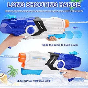 EPCHOO Wasserpistole, 2000ml Groß Water Blaster Water Gun Spielzeug mit 8-10 Meter Reichweite für Party Blaster Badestrand Sommer Pool Wasserschütze Wasserspielzeug - 3