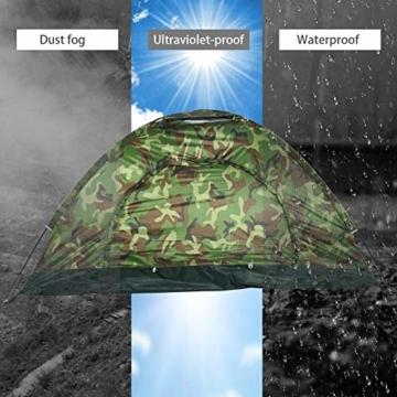 Filfeel Campingzelt, Outdoor Camping Zelt Camouflage 2 Personen UV Schutz wasserdichte Familie Reise Dome Wasserdicht Festival Wandern Klappzelte mit Tragbaren Tragetasche - 2