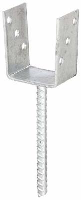 GAH-Alberts 214265 U-Pfostenträger | mit Betonanker aus Riffelstahl | feuerverzinkt | lichte Breite 91 mm | Länge Betonanker 200 mm - 1