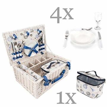 GOODS+GADGETS Picknickkorb für 4 Personen Weidenkorb für Picknick mit Picknickdecke und Kühltasche - 2