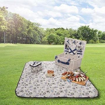 GOODS+GADGETS Picknickkorb für 4 Personen Weidenkorb für Picknick mit Picknickdecke und Kühltasche - 3