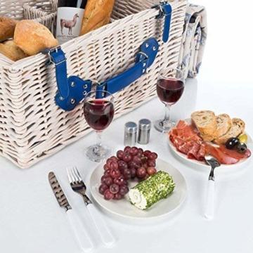 GOODS+GADGETS Picknickkorb für 4 Personen Weidenkorb für Picknick mit Picknickdecke und Kühltasche - 5