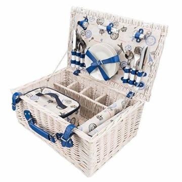 GOODS+GADGETS Picknickkorb für 4 Personen Weidenkorb für Picknick mit Picknickdecke und Kühltasche - 6