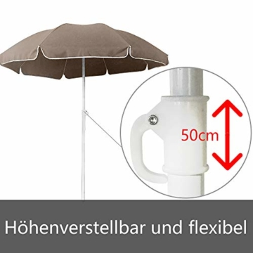 HENGMEI 200cm Sonnenschirm Marktschirm Strandschirm Gartenschirm Ampelschirm Balkonschirm Kurbelschirm Neigbar Terrassenschirm, Taupe … - 5