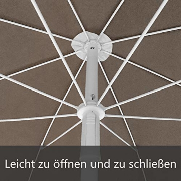 HENGMEI 200cm Sonnenschirm Marktschirm Strandschirm Gartenschirm Ampelschirm Balkonschirm Kurbelschirm Neigbar Terrassenschirm, Taupe … - 7
