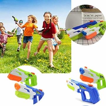 HUOHUOHUO Wasserpistole 2er Pack Reichweite 8 Meter Wassertank 1 Liter Sommer Strand Pool Spielzeug für Kinder Erwachsener - 3