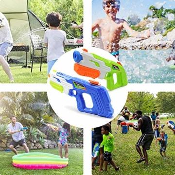 HUOHUOHUO Wasserpistole 2er Pack Reichweite 8 Meter Wassertank 1 Liter Sommer Strand Pool Spielzeug für Kinder Erwachsener - 4