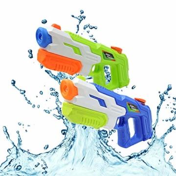 HUOHUOHUO Wasserpistole 2er Pack Reichweite 8 Meter Wassertank 1 Liter Sommer Strand Pool Spielzeug für Kinder Erwachsener - 1