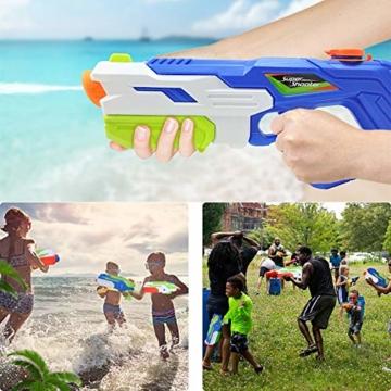 HUOHUOHUO Wasserpistole 2er Pack Reichweite 8 Meter Wassertank 1 Liter Sommer Strand Pool Spielzeug für Kinder Erwachsener - 5