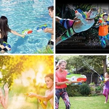 HUOHUOHUO Wasserpistole 2er Pack Reichweite 8 Meter Wassertank 1 Liter Sommer Strand Pool Spielzeug für Kinder Erwachsener - 7