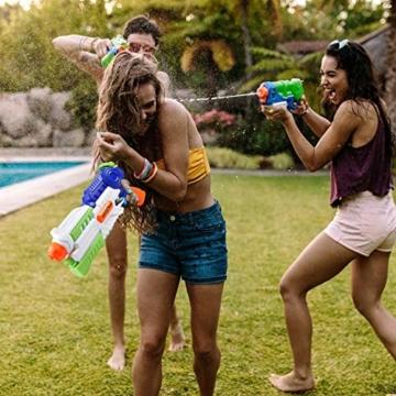 infinitoo Wasserpistole Spritzpistole Water Gun mit 1000ml Wassertank, 8-10 Meter Reichweite Blaster Spielzeug für Kinder, Erwachsene Party Garten Strand Pool etc. - 3
