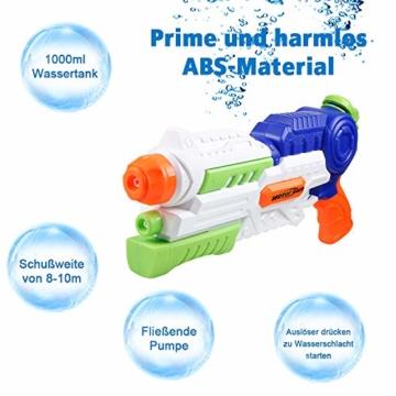 infinitoo Wasserpistole Spritzpistole Water Gun mit 1000ml Wassertank, 8-10 Meter Reichweite Blaster Spielzeug für Kinder, Erwachsene Party Garten Strand Pool etc. - 4