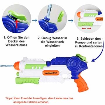 infinitoo Wasserpistole Spritzpistole Water Gun mit 1000ml Wassertank, 8-10 Meter Reichweite Blaster Spielzeug für Kinder, Erwachsene Party Garten Strand Pool etc. - 5