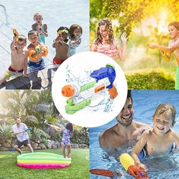 infinitoo Wasserpistole Spritzpistole Water Gun mit 1000ml Wassertank, 8-10 Meter Reichweite Blaster Spielzeug für Kinder, Erwachsene Party Garten Strand Pool etc. - 6