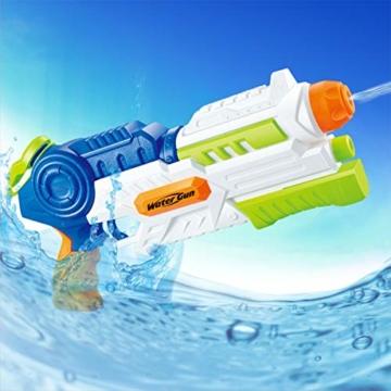 infinitoo Wasserpistole Spritzpistole Water Gun mit 1000ml Wassertank, 8-10 Meter Reichweite Blaster Spielzeug für Kinder, Erwachsene Party Garten Strand Pool etc. - 8
