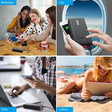 JIGA Powerbank 30000mAh Externer Akku Tragbares Ladegerät USB C Power Bank mit Taschenlampe, 3 Eingängen und 3 Ausgängen Handy-Ladegerät Akku Kompatibel mit iPhone, Samsung, Huawei, iPad usw - 5