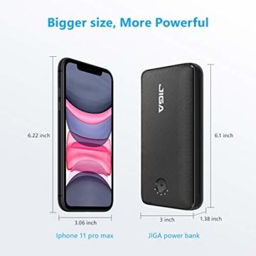 JIGA Powerbank 30000mAh Externer Akku Tragbares Ladegerät USB C Power Bank mit Taschenlampe, 3 Eingängen und 3 Ausgängen Handy-Ladegerät Akku Kompatibel mit iPhone, Samsung, Huawei, iPad usw - 7