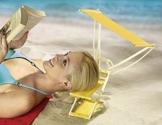 Kopfliege SUNNYBOY mit Sonnendach - Kopfstütze - Strand - Sonnenliege - Sonnenschutz - Sonnenschirm - Strandstuhl - Strandschutz - Strandschirm - Sonnenbrand - Sonnenblende - gelb - inkl. Tragetasche - 1