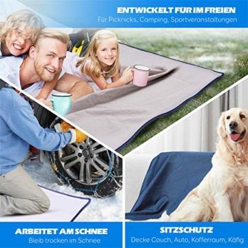KUYOU Camping Decke, Stranddecke Sanft, Sandabweisende Campingdecke, Warm Outdoor Picknickdecke Fleece 200 x 140 cm - für Camping, Outdoor, Picknicks, Reise, Terrasse und Heimnutzung (Blau 1) - 4