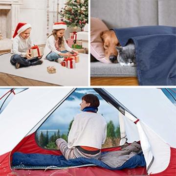 KUYOU Camping Decke, Stranddecke Sanft, Sandabweisende Campingdecke, Warm Outdoor Picknickdecke Fleece 200 x 140 cm - für Camping, Outdoor, Picknicks, Reise, Terrasse und Heimnutzung (Blau 1) - 7