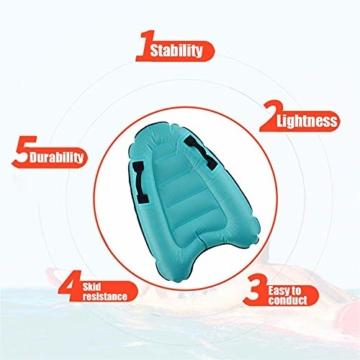 maimai Aufblasbares Surfbrett für Wasserrutschen, Leichtes Bodyboard, Kinder-Bodyboard mit Griffen, Bodyboard-Surfbrett, Board für Schwimmbad, Surfbretter Schwimmen (Blau) - 4