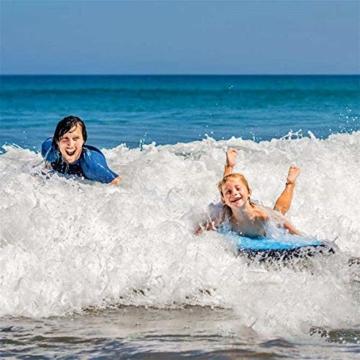 maimai Aufblasbares Surfbrett für Wasserrutschen, Leichtes Bodyboard, Kinder-Bodyboard mit Griffen, Bodyboard-Surfbrett, Board für Schwimmbad, Surfbretter Schwimmen (Blau) - 5
