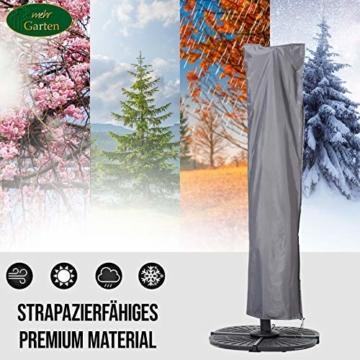 Mehr Garten Ampelschirm Schutzhülle/Abdeckhaube - Premium/wasserdicht/Polyester Oxford 600D grau - Schirmgestell gebogen/Größe XL/Durchmesser 350-450cm - 2