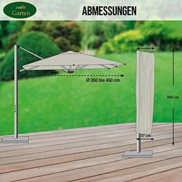 Mehr Garten Ampelschirm Schutzhülle/Abdeckhaube - Premium/wasserdicht/Polyester Oxford 600D grau - Schirmgestell gebogen/Größe XL/Durchmesser 350-450cm - 3
