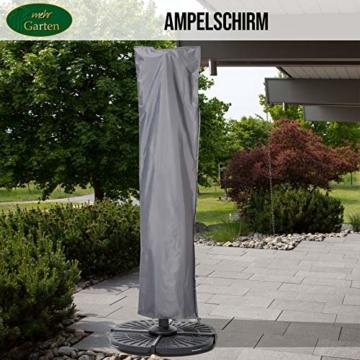 Mehr Garten Ampelschirm Schutzhülle/Abdeckhaube - Premium/wasserdicht/Polyester Oxford 600D grau - Schirmgestell gebogen/Größe XL/Durchmesser 350-450cm - 4