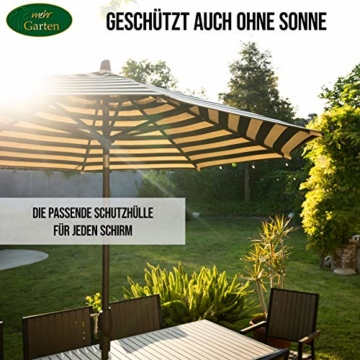 Mehr Garten Ampelschirm Schutzhülle/Abdeckhaube - Premium/wasserdicht/Polyester Oxford 600D grau - Schirmgestell gebogen/Größe XL/Durchmesser 350-450cm - 7