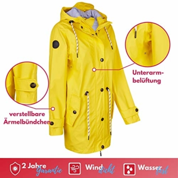 Michael Heinen Regenmantel Damen Regenjacke Wasserdicht - Friesennerz Gelb XL - Outdoor Jacke Parka Winddicht - 4