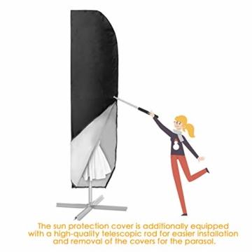 MOHOO Sonnenschirm Hülle mit Stab, Ampelschirm Schutzhülle 2 bis 4 M Große Sonnenschirm Abdeckung,UV-Schutz, durchgängiger Reißverschluss,Winddicht und Schneesicher,Oxford Gewebe - 2