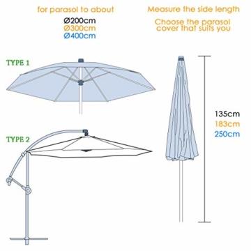 MOHOO Sonnenschirm Hülle mit Stab, Ampelschirm Schutzhülle 2 bis 4 M Große Sonnenschirm Abdeckung,UV-Schutz, durchgängiger Reißverschluss,Winddicht und Schneesicher,Oxford Gewebe - 5