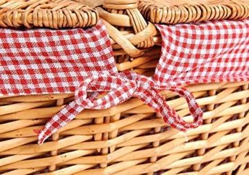 Natur Weidenkorb mit Deckel Und Henkel (Korb geflochten Oval, 40cm x 30cm x 18 cm) - Weide Einkaufskorb geflochten & Picknickkorb Leer mit Innenfutter - Rot Weiß - 4