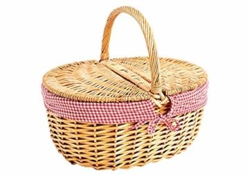 Natur Weidenkorb mit Deckel Und Henkel (Korb geflochten Oval, 40cm x 30cm x 18 cm) - Weide Einkaufskorb geflochten & Picknickkorb Leer mit Innenfutter - Rot Weiß - 1