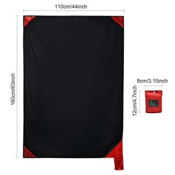 Odoland Picknickdecke 110 x 160 cm Stranddecke wasserdichte Sandabweisende Tragbare Camingmatte Ultraleicht Kompakt Strandtuch für BBQ, Strand, Reisen, Camping und Picknick - 8