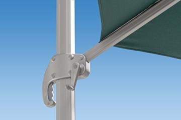 paramondo parapenda Ampelschirm Ampelsonnenschirm, Rechteckig, Grün, 4 x 3 m, 360° Schwenkbar, Kurbelbedienung, Stahl-Standkreuz und Gestell in Anthrazit - 2