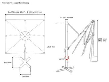paramondo parapenda Ampelschirm Ampelsonnenschirm, Rechteckig, Grün, 4 x 3 m, 360° Schwenkbar, Kurbelbedienung, Stahl-Standkreuz und Gestell in Anthrazit - 3
