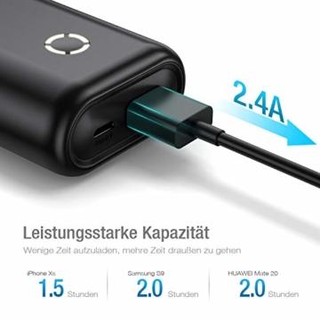 POWERADD Powerbank EnergyCell 10000mAh Mini Externer Akku USB Power Bank Kompaktes Leichtes Tragbares Ladegerät für Handy, iPhone iPad Samsung Galaxy Huawei und Andere Smartphones-Schwarz - 2