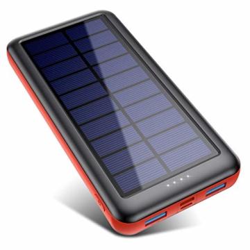 QTshine Solar Powerbank 26800mAh,Solarladegerät mit Eingängen Type C,Power Bank Hohe Kapazitat Externer Akku Fast Charge Tragbares Ladegerät Akkupack für iPhone, iPad, Samsung Galaxy und mehr - 1