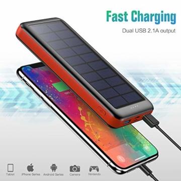 QTshine Solar Powerbank 26800mAh,Solarladegerät mit Eingängen Type C,Power Bank Hohe Kapazitat Externer Akku Fast Charge Tragbares Ladegerät Akkupack für iPhone, iPad, Samsung Galaxy und mehr - 6