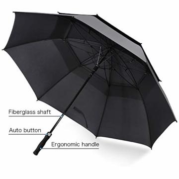 ROSEBEAR Automatischer Offener Golfschirm Winddichte Regenschirme Offener Übergroßer Regenschirm mit Doppeltem Baldachin. (Schwarz) - 2