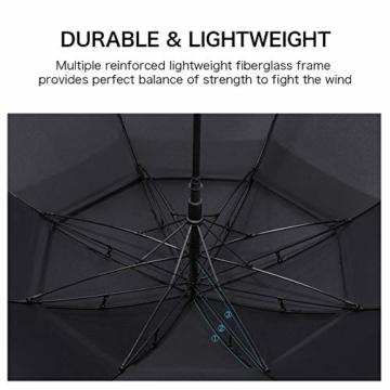 ROSEBEAR Automatischer Offener Golfschirm Winddichte Regenschirme Offener Übergroßer Regenschirm mit Doppeltem Baldachin. (Schwarz) - 3
