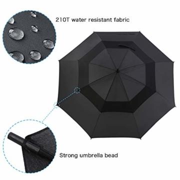 ROSEBEAR Automatischer Offener Golfschirm Winddichte Regenschirme Offener Übergroßer Regenschirm mit Doppeltem Baldachin. (Schwarz) - 4