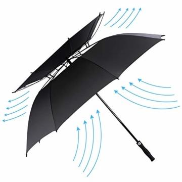 ROSEBEAR Automatischer Offener Golfschirm Winddichte Regenschirme Offener Übergroßer Regenschirm mit Doppeltem Baldachin. (Schwarz) - 1