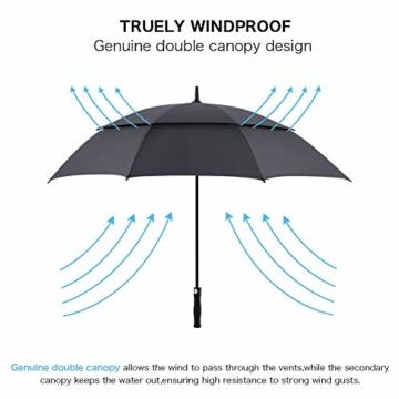 ROSEBEAR Automatischer Offener Golfschirm Winddichte Regenschirme Offener Übergroßer Regenschirm mit Doppeltem Baldachin. (Schwarz) - 5