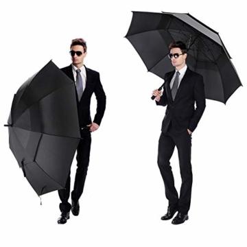 ROSEBEAR Automatischer Offener Golfschirm Winddichte Regenschirme Offener Übergroßer Regenschirm mit Doppeltem Baldachin. (Schwarz) - 6